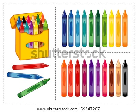 vector - Crayon Set. Big box of crayons in 20 vivid & pastel colors with pencil sharpener for scrapbooks, home, office & back to school projects. EPS8 organized in groups for easy editing.