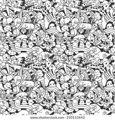 vector crazy doodle characters