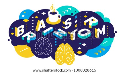Vector creative abstract horizontal illustration of 3d brainstorm word lettering typography on color background. Brainstorming concept with brain, decor element. Isometric design for business banner