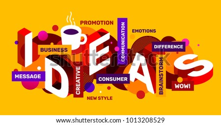 Vector creative abstract horizontal illustration of white 3d ideas word typography. Creative idea concept with coffee cup, tag word on yellow color background. Isometric template design for banner