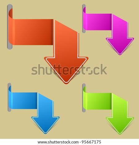 Vector creative arrow stickers set. Easy to edit