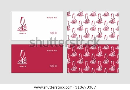 Vector creative business cards - Corporate identity - Sign, symbol - Grapes - Wine - Food / drink - Sketch - Drawn by hand.