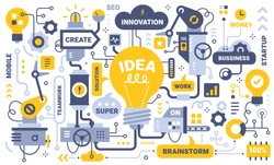 Vector creative business detailed illustration of mechanism of work yellow light bulb with tag word on white background. Flat line art hand drawn idea design of thought process for web, site, banner