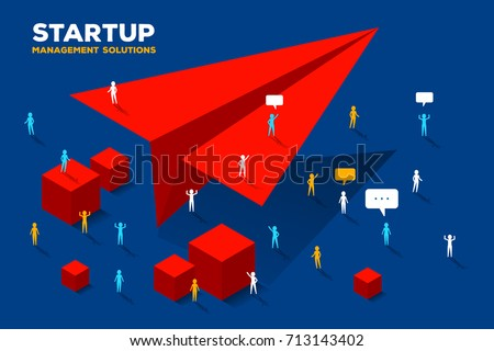Vector creative business illustration. Launch paper air plane concept on blue background. Group of people and big red paper air plane. Symbol of startup. Stylish design for poster, banner, web, site