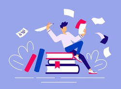 Vector creative business illustration of man with pen and paper sitting on book on color background. Creativity crisis concept. Writer has work start problem. Flat line art style design of work people