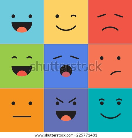 Vector creative cartoon style smiles with different emotions. - Shutterstock ID 225771481