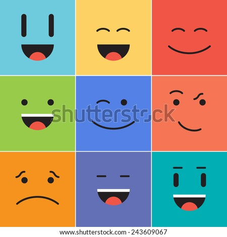 Vector creative cartoon style smiles with different emotions