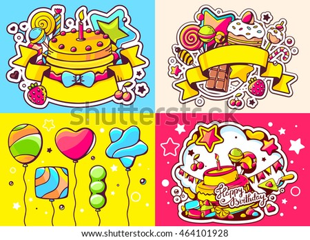 Vector creative colorful set of birthday illustration with balloons, cake, ribbon and sweetness, text happy birthday on color background. Happy birthday template. Flat style hand drawn line art design #464101928