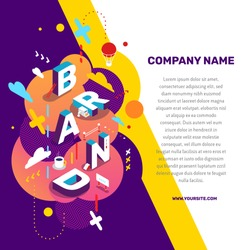 Vector creative concept illustration of 3d word brand lettering typography with decor element, text on color background. Isometric abstract branding design. Composition business template for banner