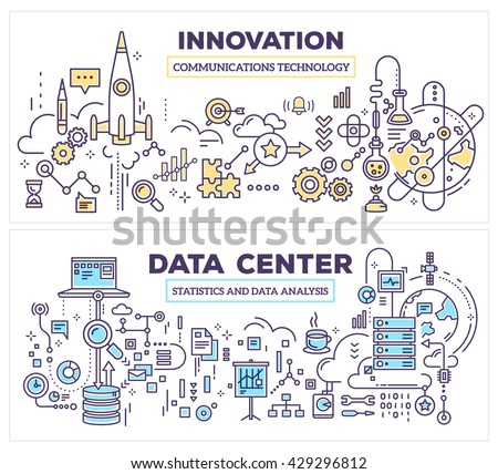 Vector creative concept illustration of data center and innovation technology. Horizontal composition template. Hand draw flat thin line art style design for server and innovation technology theme