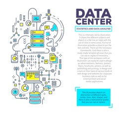 Vector creative concept illustration of data center with header and text on white background. Server technology template. Hand draw flat thin line style monochrome design for server technology theme