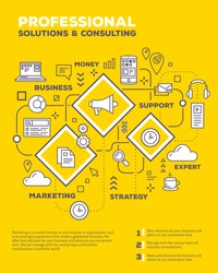 Vector creative concept illustration of graph business project with header, text on yellow background. Business consulting poster template. Flat thin line art style design of business infographics