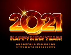 Vector creative greeting card Happy New Year 2021! Blazing fire Font. 3D Flaming Alphabet Letters and Numbers set