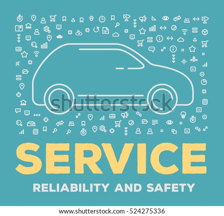Vector creative illustration of big car with set of line icons and word typography on blue background. Car service and maintenance concept. Thin line art style design for car repair, wash, parking