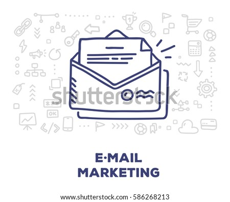 Vector creative illustration of big paper envelope with letter, line icons on white background. E-mail marketing concept. Thin hand drawn line art doodle style design for web, banner, presentation