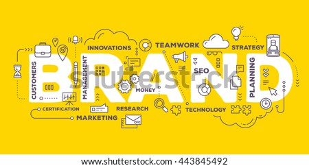 Vector creative illustration of brand word lettering typography with line icons and tag cloud on yellow background. Branding  technology concept. Thin line art style design of word brand for branding