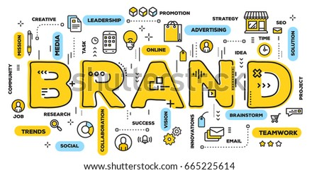 Vector creative illustration of brand yellow word lettering typography with line icons and tag cloud on white background. Branding  technology concept. Thin line art style banner design of word brand