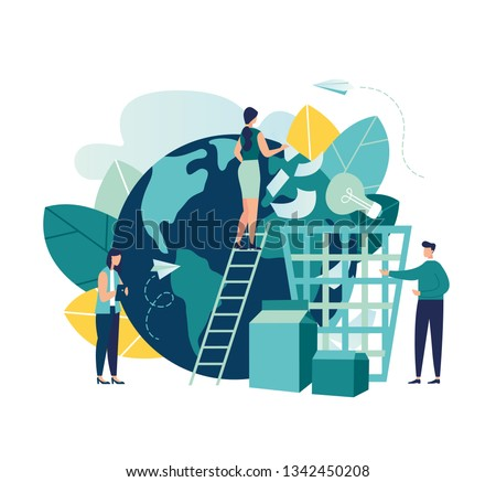 Vector creative illustration of business graphics, an employee engaged in recycling garbage, save the planet, save energy, Earth Day concept-vector