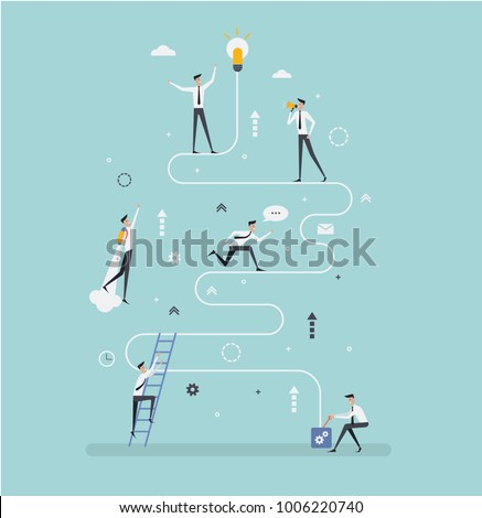 Vector creative illustration of business graphics, businessmen run to achieve new goals path to success,business flat color icons