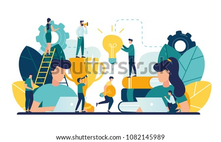 Vector creative illustration of business graphics, the company is engaged in joint construction, raising a career to success, the abstract person's head, filled with ideas of thought and analysis, gen