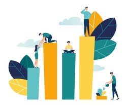 Vector creative illustration of business graphics, the company is engaged in the joint construction of column graphs, the rise of the career to success, flat color icons, business analysis  vector