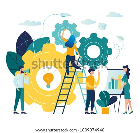 Vector creative illustration of business graphics, the company is engaged in the joint construction of column graphs, the rise of the career to success, flat color icons, business analysis