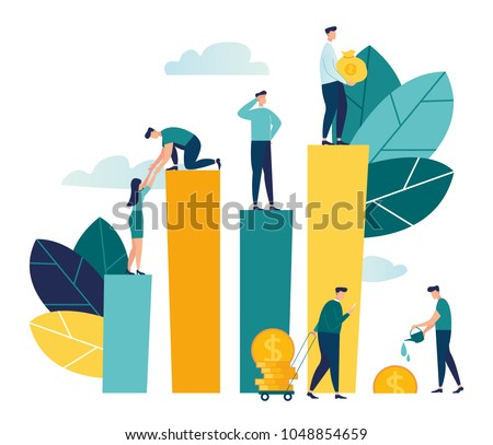 Vector creative illustration of business graphics, the company is engaged in the joint construction of column graphs, career growth to success, flat color icons, business analysis, cash profit