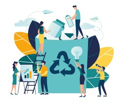 Vector creative illustration of business graphics, the employee is engaged in recycling garbage, career growth to success, flat color icons, business analysis, environmental protection vector