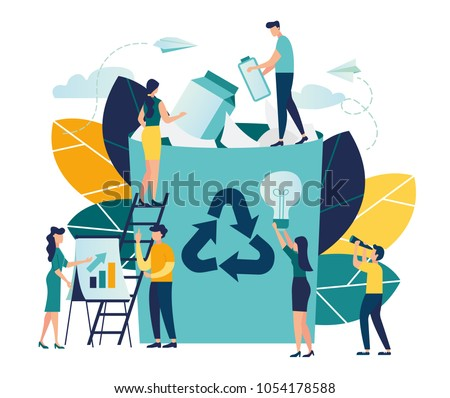 Vector creative illustration of business graphics, the employee is engaged in recycling garbage, career growth to success, flat color icons, business analysis, environmental protection