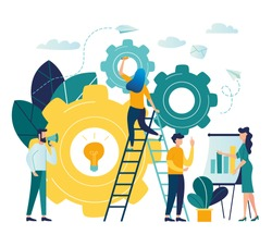 Vector creative illustration of business graphics, vector, the company is engaged in the joint construction of column graphs, the rise of the career to success, flat color icons, business analysis