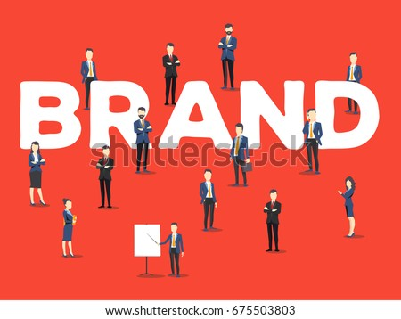 Vector creative illustration of business people and brand word lettering typography on red background. Branding company concept. Stylish design of word brand for business branding theme