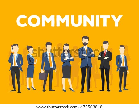 Vector creative illustration of business people on yellow background. Office employees community. Communication of business team. Stylish design for business community theme
