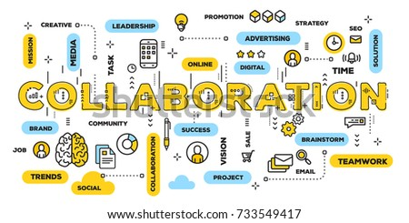 Vector creative illustration of collaboration yellow word lettering typography with line icons and tag cloud on white background. Business teamwork concept. Thin line art style design for web banner