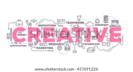 Vector creative illustration of creative word lettering typography with line icons, tag cloud on white background. Creative idea concept. Thin line art style design for business creative theme banner
