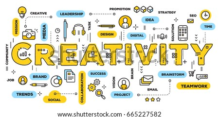 Vector creative illustration of creativity yellow word lettering typography with line icons and tag cloud on white background. Creative idea concept. Thin line art style design for creative web banner