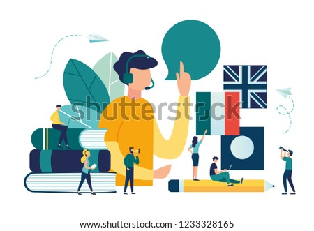 Vector creative illustration of distance learning, online learning, choice of language courses, exam preparation, home schooling