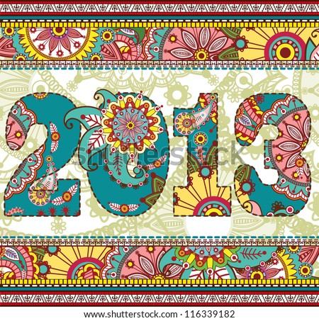 Vector Creative illustration of happy new year 2013