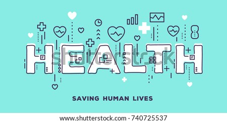 Vector creative illustration of health white word lettering typography with line icons and tag cloud on blue background. Health care concept. Thin line art style design for medical web banner