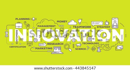 Vector creative illustration of innovation word lettering typography with line icons and tag cloud on green background. Business innovation technology concept. Thin line art style design of innovation