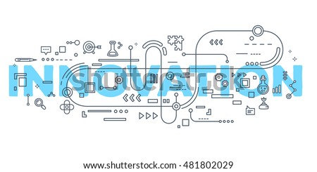 Vector creative illustration of innovation word lettering typography with line icons on white background. Innovation technology concept. Thin line art style design for innovation technology theme