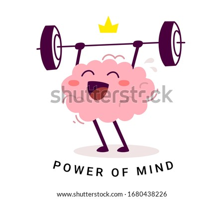 Vector creative illustration of king strong happy pink human brain character with crown easy lifting barbell on white background. Flat style education concept design of brain for web, banner, poster