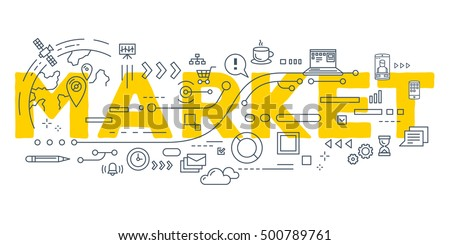 Vector creative illustration of market word lettering typography with line icons on white background. Market technology concept. Thin line art style design for business promotion, social media theme