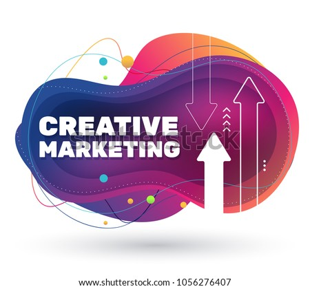 Vector creative illustration of marketing project with shadow. Business abstract bright colorful concept on white background with arrow. Template design for banner, presentation