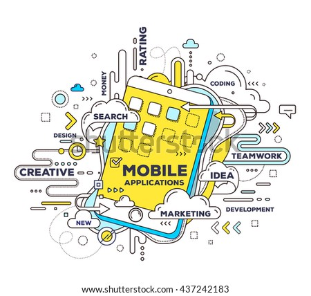 Vector creative illustration of mobile application with phone, tag cloud on white background. Mobile application development concept. Hand draw thin line art style design of phone for app development
