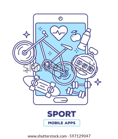 Vector creative illustration of mobile phone with bicycle, heart, skateboard, dumbbells on white background. Health application concept with heading. Thin line art flat design of sport mobile app
