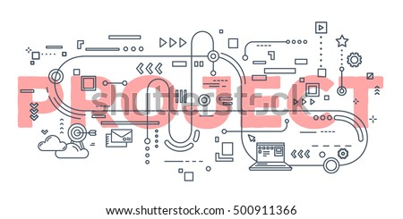 Vector creative illustration of project word lettering typography with line icons on white background. Business project concept. Thin line art style design for website, banner, poster