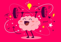 Vector creative illustration of strong happy pink human brain character with light bulb easy lifting barbell on red background. Flat style education concept design of brain for web, poster, banner