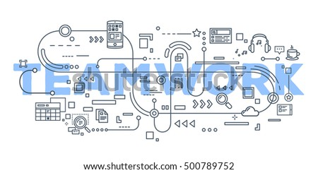 Vector creative illustration of teamwork word lettering typography with line icons on white background. Business teamwork concept. Thin line art style design for business cooperation theme