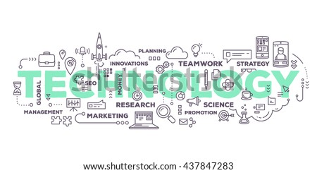 Vector creative illustration of technology word lettering typography with line icons, tag cloud on white background. Business innovation technology concept. Thin line art style design for technology