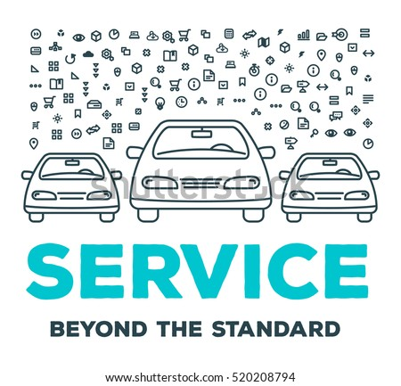 Vector creative illustration of three cars with set of line icons and word typography on white background. Car service and maintenance concept. Thin line art style design for car repair, wash, parking